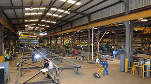 Six large steel fabrication bays